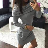 2016 new Autumn Winter Women Long Sleeve Hooded Sweater Dress girl Winter Dress Bodycon Ladies Casual cotton sweater Dress