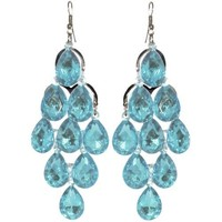 Chandelier Earrings In Turquoise with Silver Finish