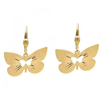 Gold Layered 5.078.012 Dangle Earring, Butterfly Design, Diamond Cutting Finish, Golden Tone