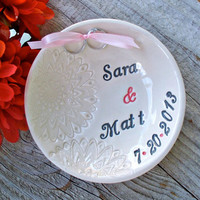 Romatic Lace Pattern Custom Wedding Ring Bearer, Ring Pillow Alternative, Ring Bowl, Ring Dish, Wedding Ring Holder