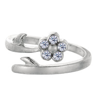 Sterling Silver Rhodium Plated Flower With CZ By Pass Style Adjustable Toe Ring