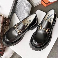 GUCCI Classic Fashion Women Casual Leather Single Shoes