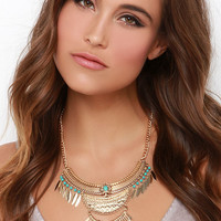 Sell Me a Spell Gold and Turquoise Necklace