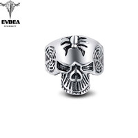 Black Friday Spider Tattoo Silver Gothic Punk Skull Big Adjustable Rotating Bikers Bible Rings Men's & boys' Jewelry