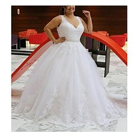 V Neck Lace Ball Gown Wedding Dress