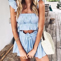 Gingham Two-Piece Playsuit Set