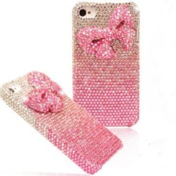 Shiny Pink Bowknot Rhinestone Handmade Hard Cover Case for Iphone 4/4s