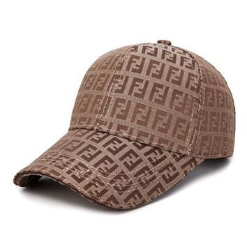 FENDI Trending Women Men Stylish Embroidery Sports Sun Hat Baseball Cap Hat Coffee I13657-1