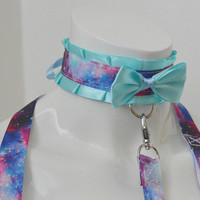 Kitten play collar and leash set - Blue galaxies - nebula space colorful choker necklace - lolita neko bdsm proof kink adult pet gear