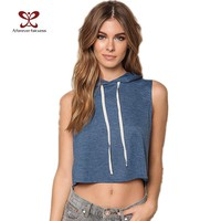 Sweatshirt Women New Fashion Hooded Drawstring ladies Short Sleeveless Crop Tops Casual Hoodies Tracksuit Women top NC-1134
