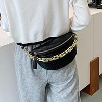 Women's High Quality Waist Bag Thick Chain Shoulder Crossbody Chest Bag Female Belt Bag Handbag