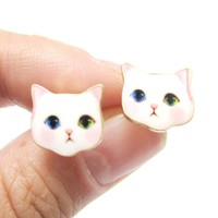 Adorable White Odd-eyed Kitty Cat Face Shaped Stud Earrings   Animal Jewelry