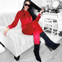 Stylish Casual Set Hot Sale Women's Fashion Hats Velvet Pants Hoodies Set [83828768783]