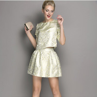 Shinny Green Sleeve Shirt With Paired Pleat Mini Skirt