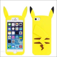 Cute Pocket Monsters 3D Cartoon Pokemon Pikachu Case Soft Silicone Back Cover for iphone 4 4S & SE 5 5S 5C & 6 6S & 6 6S Plus