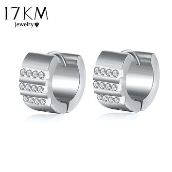 17KM Sliver Color Stainless Steel Stud Earrings for Women Man Vintage Party Accessories Collar Geometric Crystal Earrings