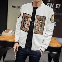 2018 Chinese Designs Jacket Coat Men Long Pao Embroidery Fashion Bomber Jacket Men Zipper Casual Mens Windbreakers Jacket Male