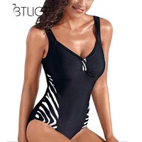 BTLIGE 2018 Sexy Black One Piece Swimsuit XXXL Tankini Plus Size Swimwear Bikinis Women High Cut Bathing Swimming Suit Monokini