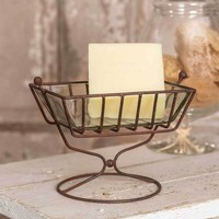 Set of 4 Raised Soap Dish with Glass Liner