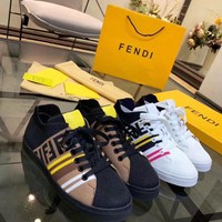 DCCK Fendi Men's Leather Fashion Sneakers Shoes