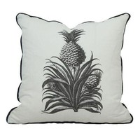 Pre-owned Black & White Throw Pillow with Pineapple Print