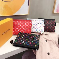 Louis Vuitton LV Fashion New Lady Color Print Letter Cosmetic Bag Briefcase