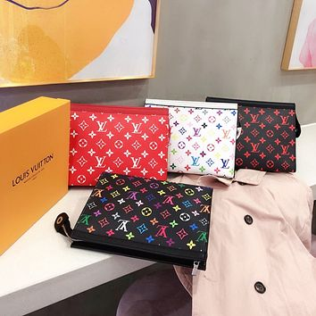 Hipgirls Louis Vuitton LV Fashion New Lady Color Print Letter Cosmetic Bag Briefcase
