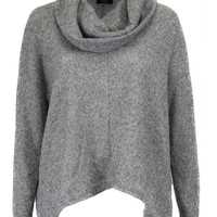 Forever Warm Super Soft Cowl Neck Sweater - Light Gray