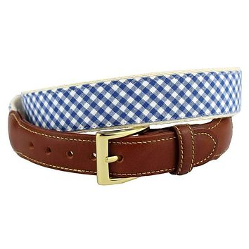 Gingham Leather Tab Belt in Royal Blue by Country Club Prep