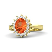 Oval Fire Opal 14K Yellow Gold Ring with White Sapphire