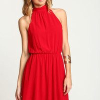 Red Sash Tie Flare Dress - LoveCulture