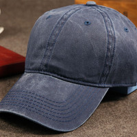 Navy Retro Washed Cotton Baseball Cap