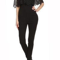 Ruffled Crochet Layer Solid Off Shoulder Fitted Jumpsuit BCR8053