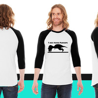 T-Rex Hates Pushups American Apparel Unisex 3/4 Sleeve T-Shirt