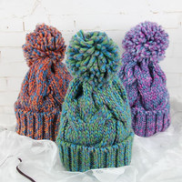 Knit Stylish Korean Winter Thicken Pullover Mixed-color Hats [9245634372]