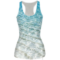 Womens Seawater Prined Slim Tank Top Casual Sports Vest for Summer Free Shipping