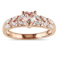 Rose Gold Flashed Silver Accent Diamond and Morganite Ring (0.06 Cttw, G-H Color, I2-I3 Clarity)