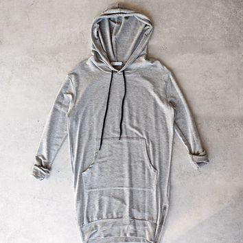Michelle by Comune - Quinlan Heather Grey French Terry Hoodie Dress