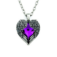 Purple Stone Fallen Dark Angel Wings & Heart Necklace
