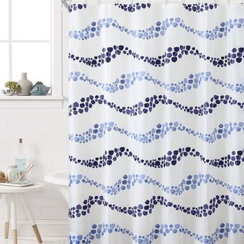 "Royal Bath Blue Pebble Waves PEVA Non-Toxic Shower Curtain - 72"" x 72""with 12 Matching Roller Hooks"