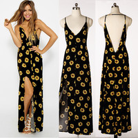 Fashion Black Floral Print Plunging V-Neckline Bare Back Maxi Dress with Slit = 4765109636