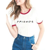 Friends Women Hipster Shirts Tumblr Graphic T-shirt Women Best Friends Ringer Tee T Shirt Fashion Cotton Clothing Top