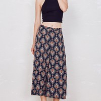 Lotus Printed Wide-Leg Culottes Pants