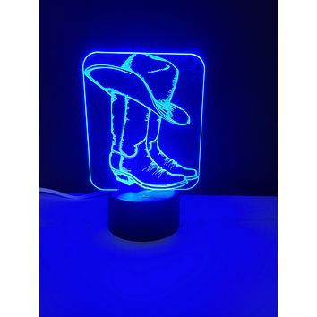 Laser Cut and Engraved Cowboy Hat and Boots 3D Acrylic LED Light Lamp