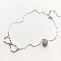 Infinity Ankle Bracelet • Sterling Silver Anklet • Infinity Anklet • Bow Jewelry • Cz Jewelry • Foot Jewelry • Beach Wedding | 0068AM