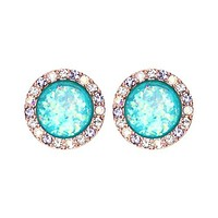 Rose Gold Round Crown Opal Jeweled Combo WildKlass Ear Stud Earings ( Aurora Borealis/Tanzanite/Teal)