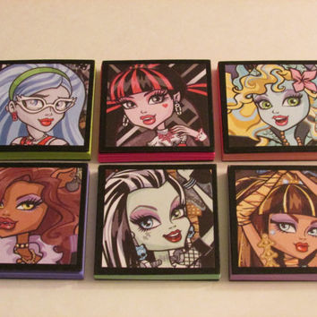 Monster High Set #1 Note Pads Set of 6 - Excellent Party Favors - Monster High Pinata Stuffer Monster High Stocking Stuffers