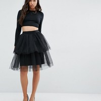 Boohoo Tiered Tulle Skirt at asos.com