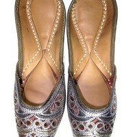 Indian Jutti For Womens Flat Shoes with Silver Brown Embroidered, Gift Idea