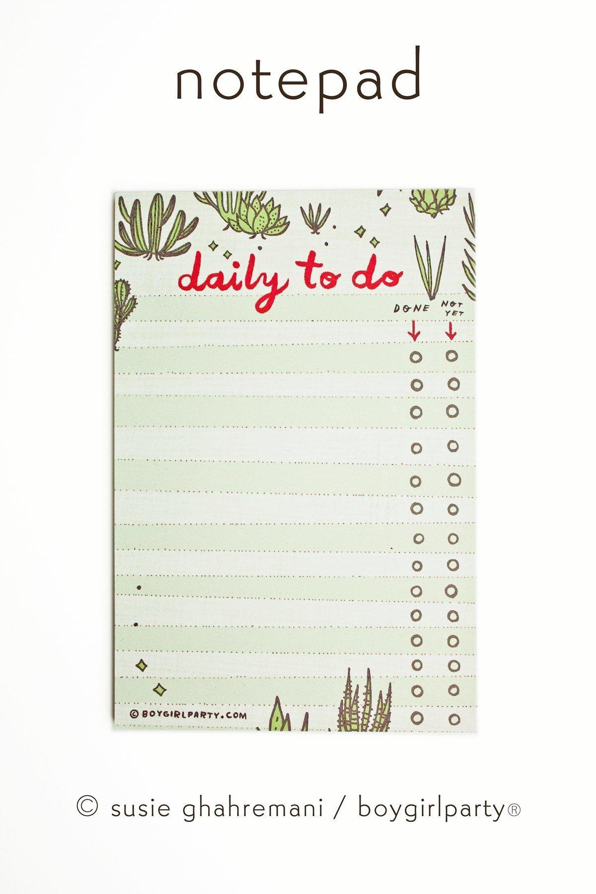 Image of Succulent To Do List - Cactus Notepad - Daily To Do List Notepad by boygirlparty